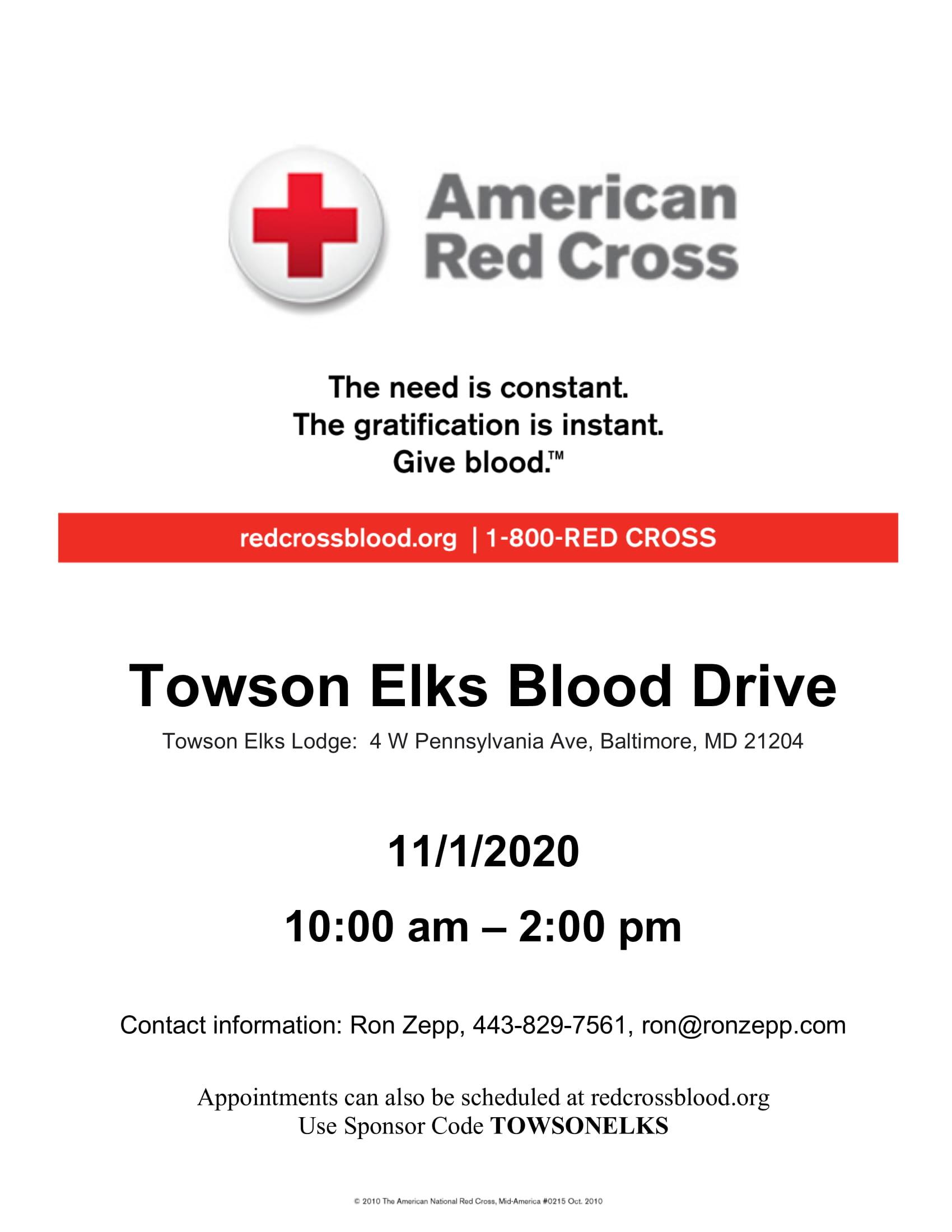 Elks Blood Drive 11-1-1