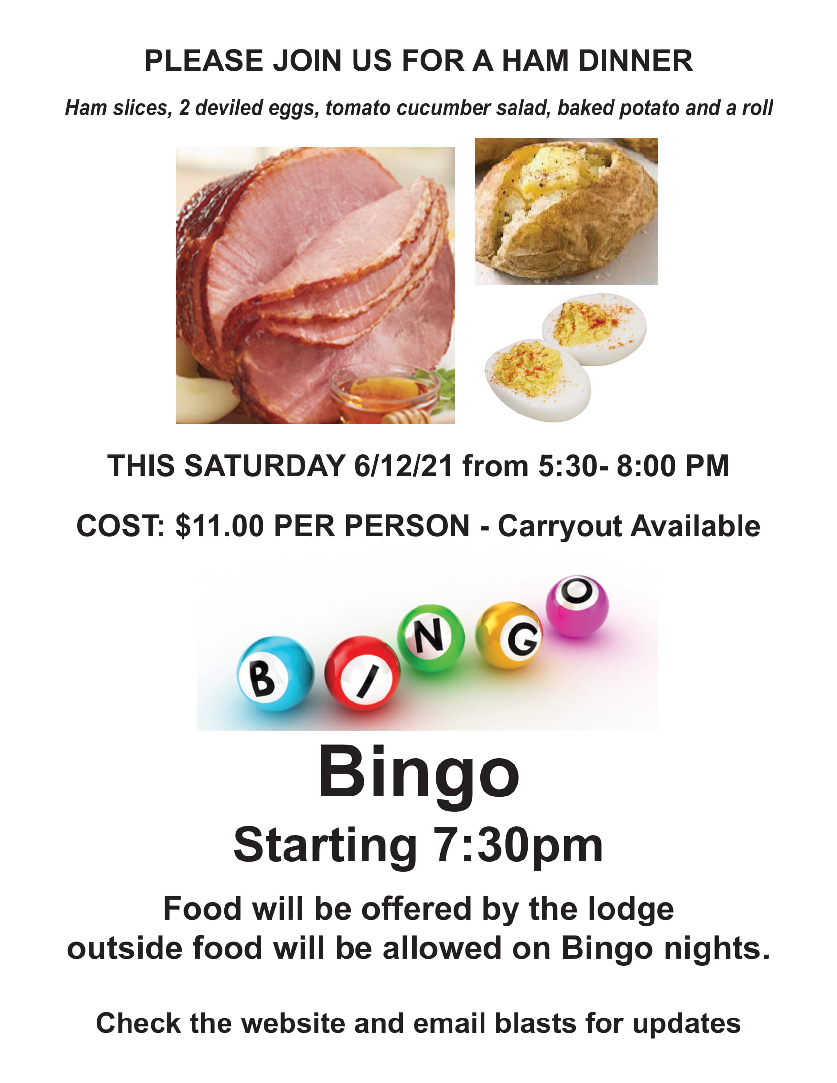 Bingo Ham dinner-1